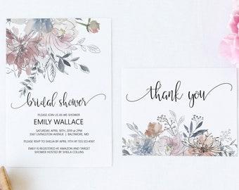 Floral Bridal Shower Invitation, Thank You Card, Editable DIY Bridal Shower Invitation Template, MSD336