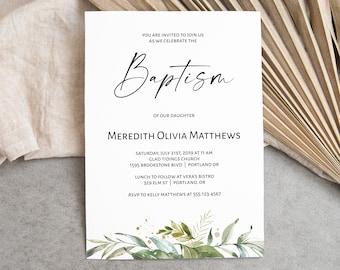 Greenery Baptism Invitation Template, Printable Baptism Invitation, BAP-215