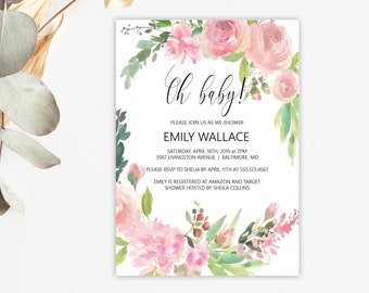 Oh Baby Pink Floral Baby Shower Invitation, Editable Invitation Template, Printable Invitation, MSD347