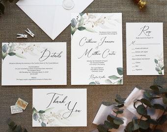 Greenery and Gold Leaf Wedding Invitation Template Set, Printable Wedding Invitation, MSD389