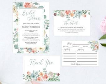 Floral Bridal Shower Invitation Set, Details Card, Recipe Card, Thank You Card, DIY Editable PDF Bridal Shower Invitation Template, MSD697