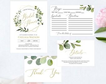 Greenery Bridal Shower Printable Invitation Set, Details Card, Recipe Card, Thank You Card, Editable PDF Template, MSD358