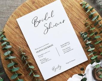 Minimalist Calligraphy Bridal Shower Invitation, Editable Template, Printable Invitation Template, Corjl Online Editor, MSD153