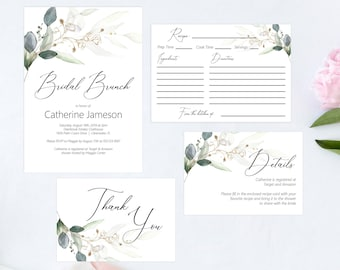 Greenery and Gold Leaf Bridal Brunch Printable Invitation Set, Details Card, Recipe Card, Thank You Card, Editable PDF Template, MSD389