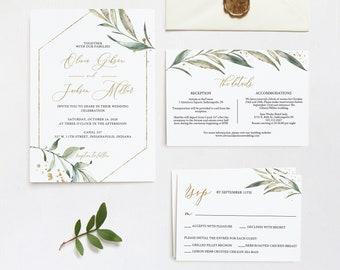 Greenery Wedding Invitation Set, Editable Template, Printable Invitation Template, Corjl Online Editor, MSD-194