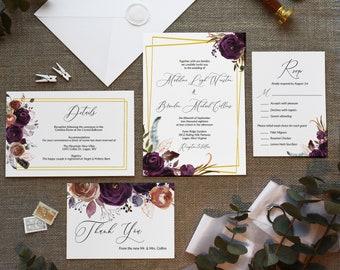 Purple Plum Floral Wedding Invitation Template Suite, Printable Wedding Set, Details Insert Card, RSVP Insert Card, Thank You Card, MSD-501