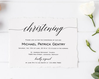 Christening Invitation Template, Printable Christening Invitation, DIY Christening Invitation, MSD203