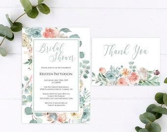 Peach Floral Bridal Shower Invitation, Thank You Card, Editable DIY Bridal Shower Invitation Template, MSD697