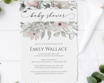 Floral Baby Shower Invitation, Editable Baby Shower Invitation Template, MSD325