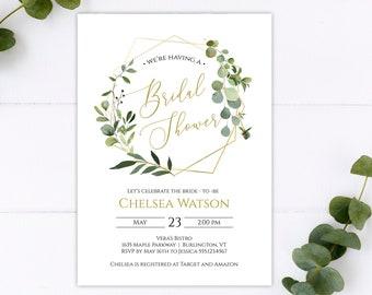 Greenery Bridal Shower Printable Invitation Template, Editable DIY Bridal Shower Invitation Template, MSD358