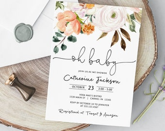 Floral Oh Baby Shower Invitation, Greenery Blush Baby Shower Editable Template, Printable Invitation Template, Corjl Online Editor, MSD-658
