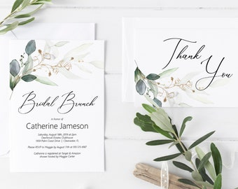 Greenery and Gold Leaf Bridal Brunch Invitation, Thank You Card, Editable DIY Bridal Brunch Invitation Template, MSD389