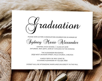 Printable Graduation Invitation Template, Graduation Announcement Invitation, DIY Graduation Template, GRAD-019