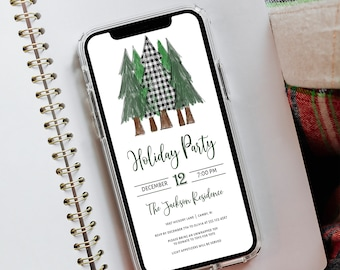 Christmas Electronic Invitation Template, Holiday Party Digital Invitation, Rustic Christmas Trees Invitation, Text SMS Evite, MSD-962CPI