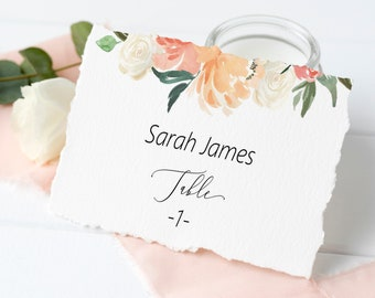Printable Peach Blush Floral Place Card Template, Editable Wedding Place Card, Seating Card, Place Card Template, MSD301