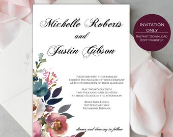 Wedding Invitation Template /  Printable Wedding Invitation / Printable Invitation / Invitation Suite Template / Michelle Collection