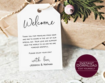 Welcome Favor Tag, Wedding Welcome Favor Tag Template, DIY Wedding Favor Tags, Printable Favor Tag, MSD129