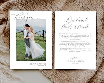 Photo Thank You Card, Wedding Thank You Card, Minimalist Thank You Card, Printable Thank You Card Template, MSD-1116