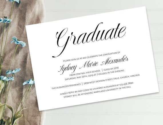 photo relating to Printable Graduation Announcement named Printable Commencement Invitation Template, Commencement Announcement Invitation, Commencement Template, Do it yourself Commencement Invitation, GRAD-072