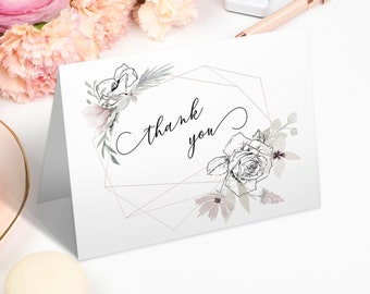 Floral Thank You Card, Printable Wedding Card, Bridal Shower Note Card, Baby Shower Thank You, MSD325