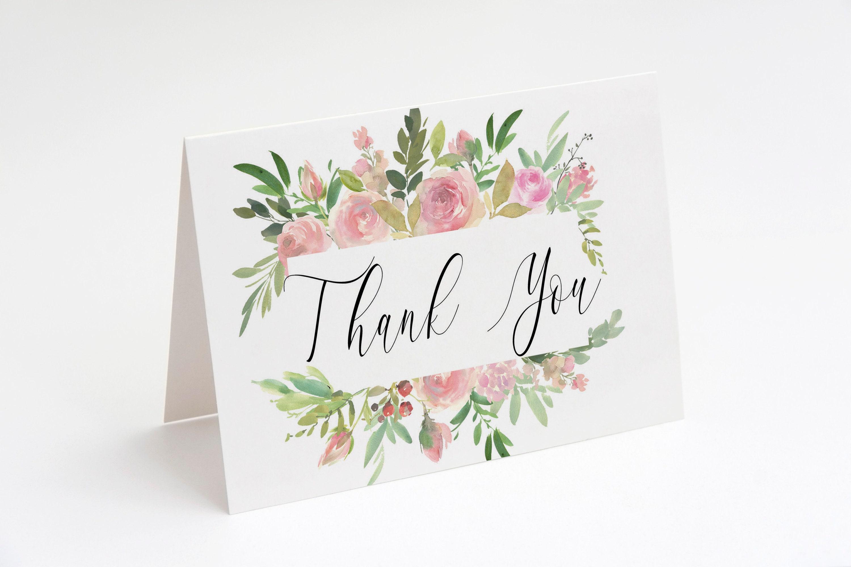 Pink Floral Printable Thank You Card Bridal Shower Thank You Card Baby Shower Note Card Wedding Card MSD347