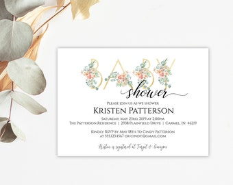 Peach and Gold Floral Greenery Baby Shower Invitation, Editable Invitation Template, Printable Invitation, MSD697