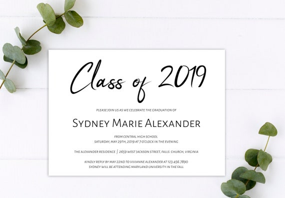 graphic about Printable Graduation Announcement titled Cl of 2019 Printable Commencement Invitation Template, Do it yourself Commencement Announcement Invitation, GRAD-053
