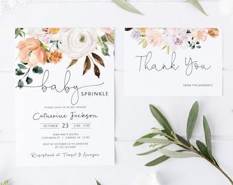 Floral Baby Sprinkle Invitation, Peach Baby Shower Editable Invitation Template, Printable Invitation, Corjl Online Editor MSD-658