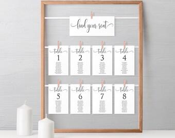 Wedding Seating Chart, Printable Wedding Seating Plan, Table Seating Chart Template, Table Card Template, MSD-124