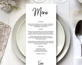 Wedding Menu Card Editable Template, Menu Card Printable Template, DIY Menu Card, DIY Menu Template, Instant Download, MSD-158