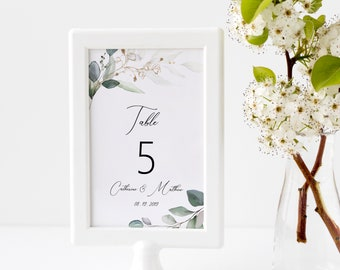Greenery and Gold Table Number Template, Wedding Table Numbers, Printable Table Cards, MSD389