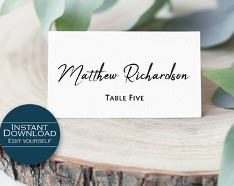 Place Card Template /  Escort Card Printable / Editable Place Card / Seating Card / Place Card Template / Wedding Place Card / MSD401