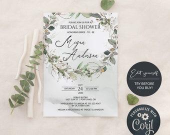 Greenery Bridal Shower Invitation Template, Editable DIY Bridal Shower Invitation, MSD389