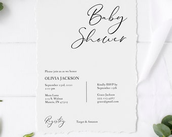 Baby Shower Invitation, Modern Calligraphy Editable Template, Printable Invitation Template, Corjl Online Editor, MSD153