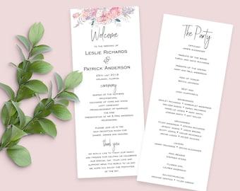 Wedding Program Template, DIY Wedding Program, Ceremony Program Template, Wedding Printable - Isabelle