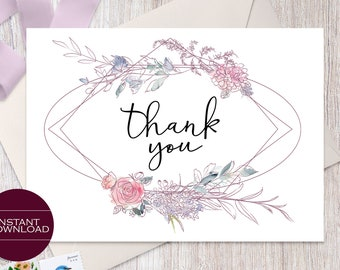 Floral Thank You Card Template, Thank You Card Printable, DIY Thank You Card, Isabelle Collection