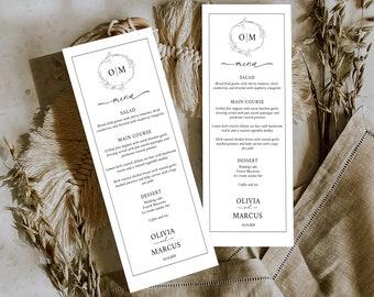 Minimalist Menu Template, Editable Menu Card, Monogram Crest Printable Wedding Menu, MSD-1111