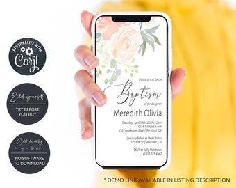Rustic Peach and Greenery Electronic Baptism Invitation, Digital Baptism Announcement, Smartphone Invitation, MSD301B