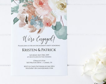 Floral Engagement Party Editable Invitation Template, We're Engaged Party Invitation, DIY Editable Template, MSD697