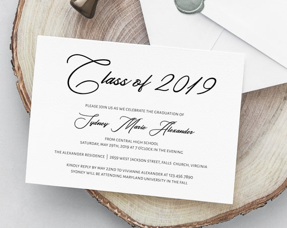 Class Of 2019 Printable Graduation Invitation Template Diy Graduation Announcement Invitation Grad 067