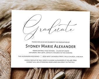 Printable Graduation Invitation Template, Graduation Announcement Invitation, DIY Graduation Template, GRAD-024