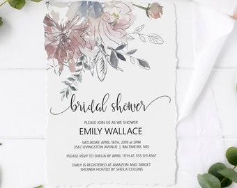 Printable Floral Bridal Shower Invitation Template, Editable DIY Bridal Shower Invitation Template, MSD336