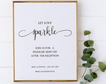 Let Love Sparkle Printable Wedding Sign, Sparkler Sign Template, Editable Wedding Sparklers Sign, MSD-124