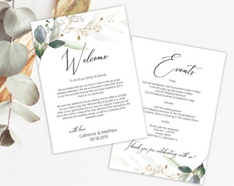 Printable Wedding Welcome Itinerary, Greenery and Gold Leaf Welcome Gift Bag Tag, MSD389