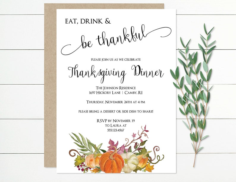 Thanksgiving Invitation Template Dinner Holiday MSD 836