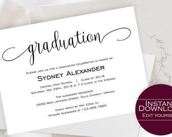 Printable Graduation Invitation Template, Graduation Announcement Invitation, Graduation Template, Graduation Invitation, GRAD-041