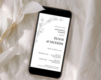 Digital Rehearsal Dinner Invitation, Electronic Dinner, Minimalist Wedding Rehearsal Evite, Text Message, Corjl Instant Download, MSD-1106