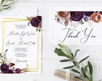 Printable Violet Plum Floral Wedding Invitation Template, Printable Wedding Invitation, MSD501