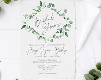Greenery Bridal Shower Invitation Template, Editable Bridal Shower Invitation, Amy Collection