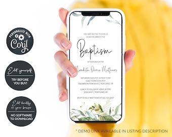 Rustic Greenery Electronic Baptism Invitation, Digital Baptism Announcement, Smartphone Invitation, MSD215